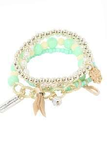 Green Pearl Beaded Multilayers Hand Chain