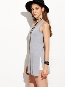 Grey Split Tank Top