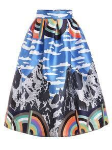 Mountain Print Box Pleated Midi Skirt