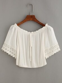 Tie-Neck Crochet Trimmed Sleeve Crop Top