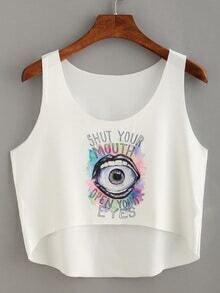 Eye & Lip Print High-Low Crop Tank Top