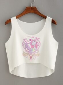 Cartoon Print High-Low Crop Tank Top
