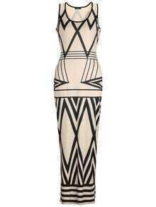Contrast Trim Geometric Print Maxi Dress