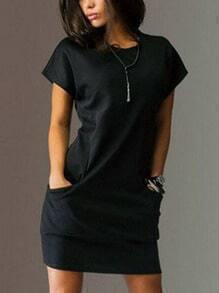 Dual Pocket Front Shift Dress - Black