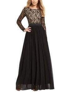 Long Sleeve Lace Top 2 in 1 Maxi Dress