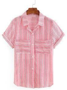 Mixed Striped Dual Pocket Short Sleeve Blouse - Red