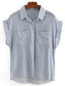 Mixed Striped Dual Pocket Cap Sleeve Blouse