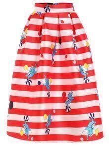 Striped & Elephant Print Box Pleated Midi Skirt
