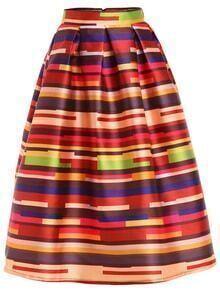 Multicolor Striped Box Pleated Midi Skirt