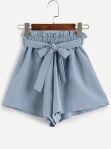 Belted Ruffled Waist Wide Leg Shorts