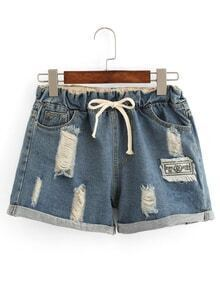 Distressed Drawstring Waist Denim Shorts