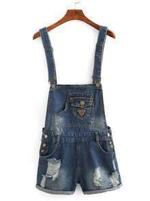 Frayed Denim Overall Shorts