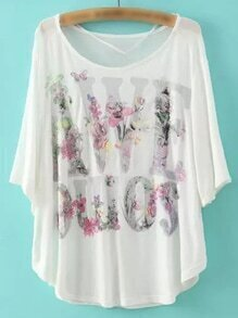 White Batwing Sleeve Letters Print T-shirt