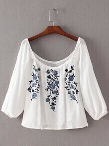 White Lantern Sleeve Flowers Embroidery Blouse
