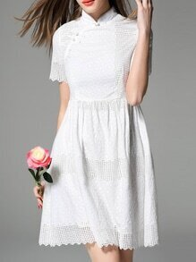 White Collar Embroidered Hollow A-Line Dress