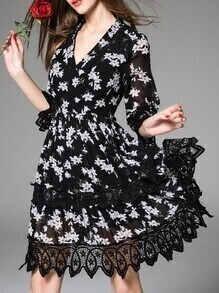 Black V Neck Print Contrast Lace Dress