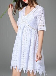 White V Neck Hollow Zigzag Dress