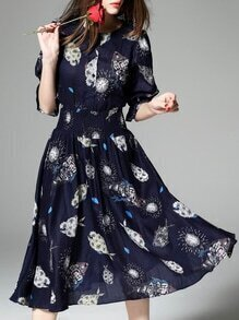 Navy Elastic-Waist Print A-Line Dress