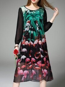 Multicolor Crew Neck Flamingos Shift Dress