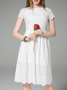 White Embroidered Hollow A-Line Dress