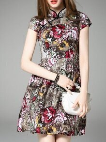 Multicolor Collar Pockets Print A-Line Dress