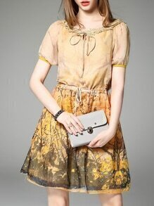 Yellow Tie Neck Drawstring Print Shift Dress