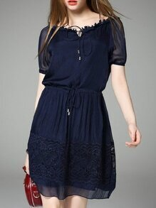 Navy Tie Neck Drawstring Shift Lace Dress