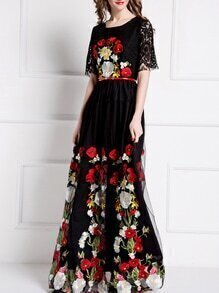 Black Gauze Embroidered Belted Lace Maxi Dress