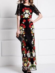 Black Gauze Embroidered Lace Maxi Dress