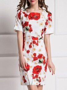 White Boat Neck Shift Print Dress