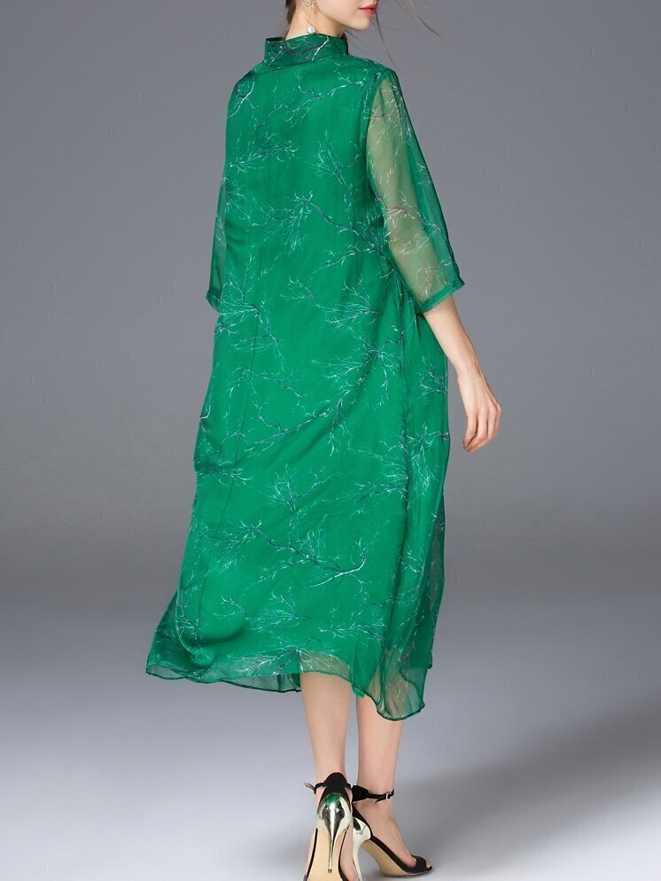 Robe longue imprime col chinois avec poches vert french romwe for Robe col chinois