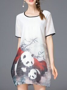 White Pandas Print Shift Dress
