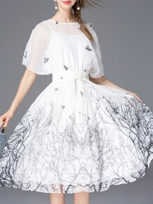 White Batwing Belted Print Dress