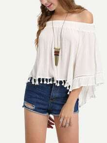 Off-The -Shoulder Tassel Trimmed Blouse - White