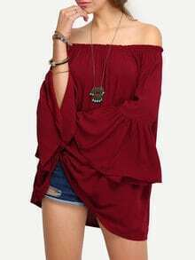 Off-The-Shoulder Bell Sleeve Blouse