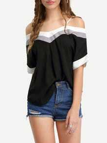 Color Panel Off-The-Shoulder Cami Top - Black
