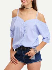 Vertical Striped Off-The-Shoulder Cami Blouse