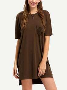 Ripped Pocket High-Low Loose Fit Dress