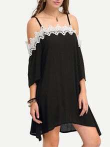 Lace Trimmed Off-The-Shoulder Asymmetric Cami Dress