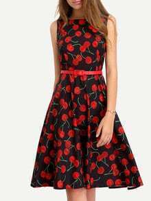 Cherry Print Fit Flare Dress
