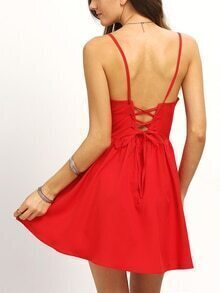 Shirred Lace-Up Cami Dress