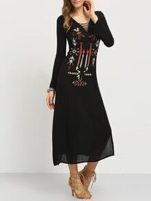 Embroidery Tasselled Lace-Up Neck Long Dress