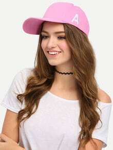 Letter Embroidered Pink Cap