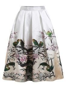 Bird And Branch Print Box Pleated Midi Skirt