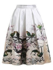 Bird And Branch Print Box Pleated Midi Skirt