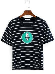 Striped Printed T-shirt - Black