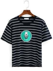 Striped Printed T-shirt - Black