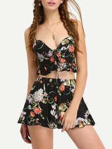 Flower Print Crop Peplum Cami Top With Shorts - Black