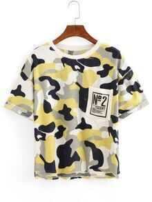 Camouflage High-Low Pocket T-shirt - Yellow