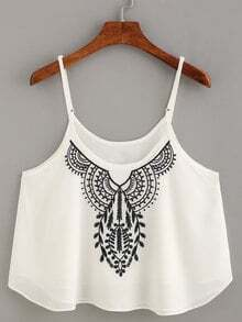 Embroidery Chiffon Cami Top - White